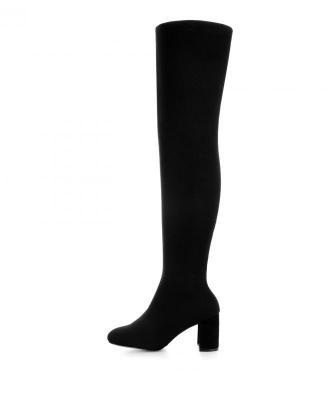 Czarne elastycznego kozaki za kolano DIANO