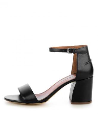 Czarne sandały z ozdobnym przeszyciem IGNAGEO