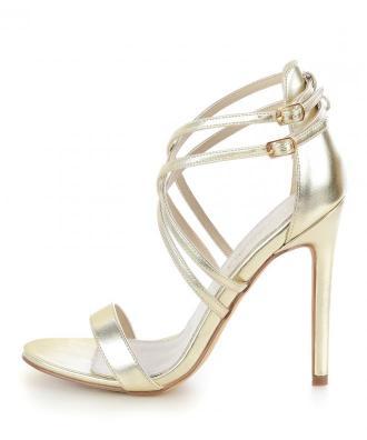 Platynowe sandały na szpilce UCCEA