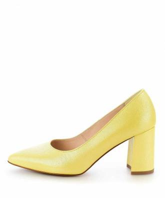 Żółte czółenka ze skóry laminowanej LAGUNDO