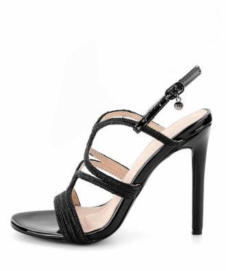 Czarne sandały na szpilce z delikatnymi paseczkami FILIANO