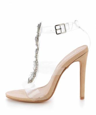 Beżowe transparentne sandały z kamieniami ZAULE