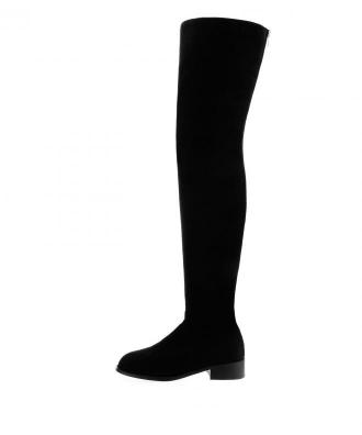 Czarne kozaki za kolano z ozdobnym zamkiem TALAVORNO