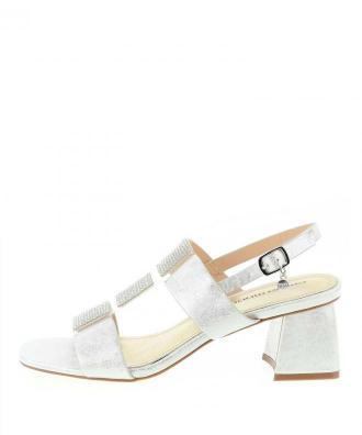 Srebrne sandały na słupku PERGANO