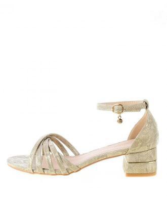 Złote sandały z motywem skóry wężowej ENETAL