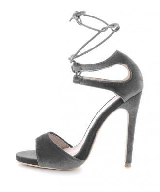 Szare aksamitne sandały na szpilce OLIERA