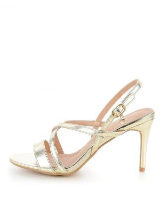 Platynowe sandały na szpilce OLIERA
