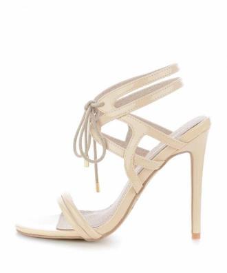 Beżowe sandały z ozdobnym wiązaniem OLIERA
