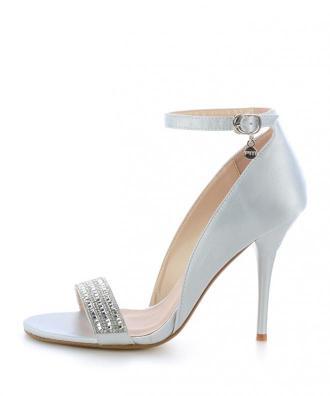 Srebrne sandały na szpilce z ozdobnym paskiem PIEMONT
