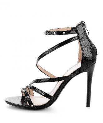 Czarne sandały na szpilce z dżetami WERONA