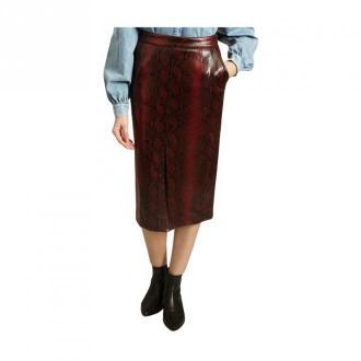 Essentiel Antwerp Glossy Snake Print Midi Skirt Spódnice Czerwony