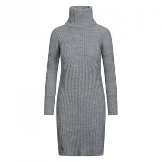 Lemoniade Swetrowa prążkowana sukienka z golfem i guzikami Ls311