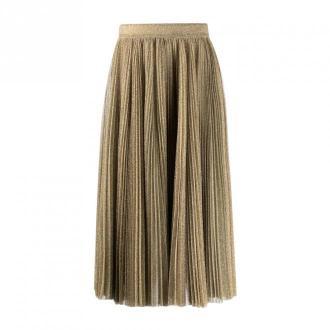 Dolce & Gabbana Glitter Pleated Midi Skirt Spódnice Brązowy Dorośli