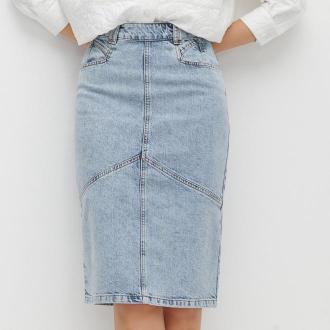 Reserved - Jeansowa spódnica midi - Niebieski