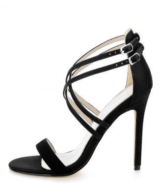 Czarne sandały na szpilce z drobnymi koralikami UCCEA
