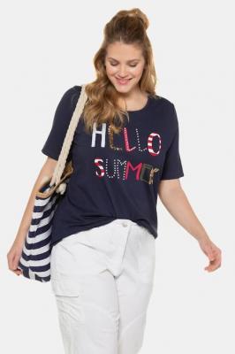 Duże rozmiary T-shirt, damska, niebieski, rozmiar: 46/48, wiskoza, Ulla Popken