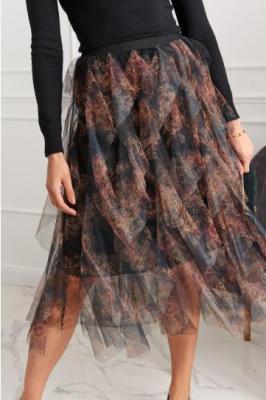Spódnica z tiulowymi falbanami we wzory czarno-brązowa 4891