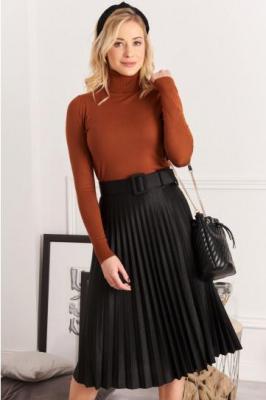 Spódnica plisowana midi czarna 9533
