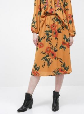Jacqueline de Yong musztardowa midi spódnica kwiecista Solis - XS 7100026136288