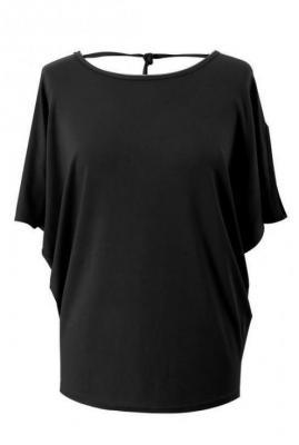 Czarna dzianinowa bluzka z krótkim rękawem - dora 44/46