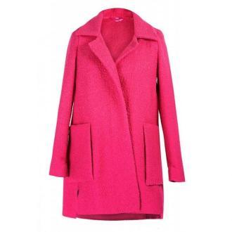 Różowy płaszcz z dużymi kieszeniami estella 1 (40-42)