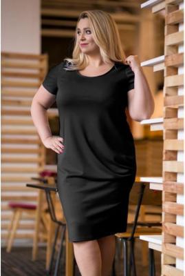Czarna sukienka z marszczeniami na boku - clara krótki rękaw 42