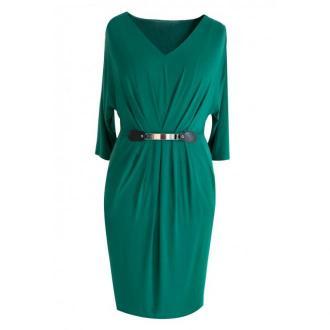 Zielona sukienka dzianinowa z rękawem 3/4 luna 46