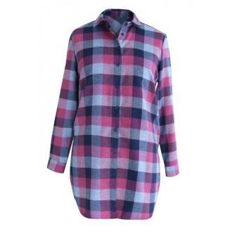 Długa koszula-tunika w różowo-szarą kratę - sylvia 42