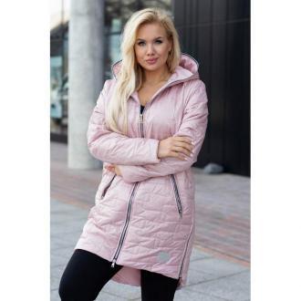Pudrowo-różowa długa kurtka pikowana z kapturem - scarlett 2xl (40/42)