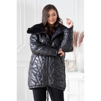 Czarna ciepła pikowana kurtka z misiem - polin 6 (52-54)
