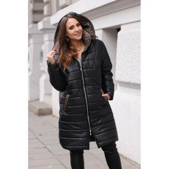 Ciepła, zimowa czarna kurtka z karmelowym wzorem - selena 2xl (42-44)