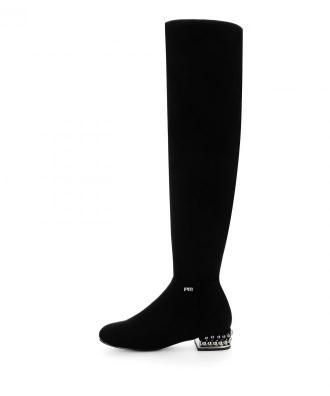 Czarne kozaki za kolano z ozdobnym obcasie ZOMARO