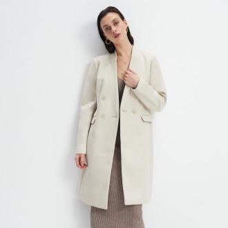 Mohito - Dwurzędowy płaszcz - Kremowy