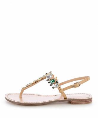Beżowe sandały japonki z ozdobnymi kamieniami GRADO