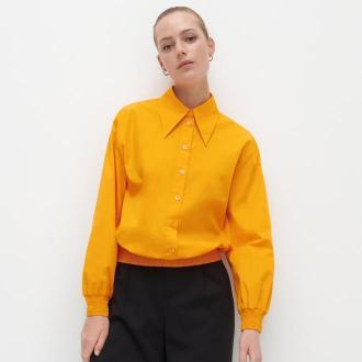 Reserved - Bawełniana koszula ze ściągaczem - Pomarańczowy