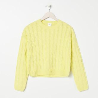 Sinsay - Sweter w warkoczowy splot - Żółty