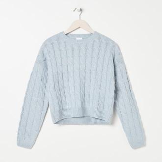 Sinsay - Sweter w warkoczowy splot - Niebieski