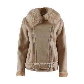 Patrizia Pepe Reversible fur jacket Kurtki Beżowy Dorośli Kobiety