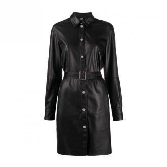 Karl Lagerfeld Faux Leather Shirt Dress Sukienki Czarny Dorośli