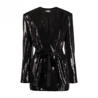 Karl Lagerfeld Sequins Jacket W / Belt Kurtki Czarny Dorośli Kobiety