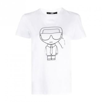 Karl Lagerfeld Ikonic Outline T-Shirt Koszulki i topy Biały Dorośli