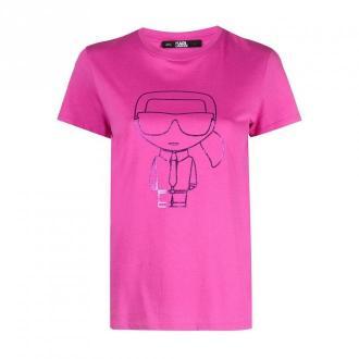 Karl Lagerfeld Ikonic Outline T-Shirt Koszulki i topy Różowy Dorośli