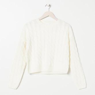 Sinsay - Sweter w warkoczowy splot - Kremowy