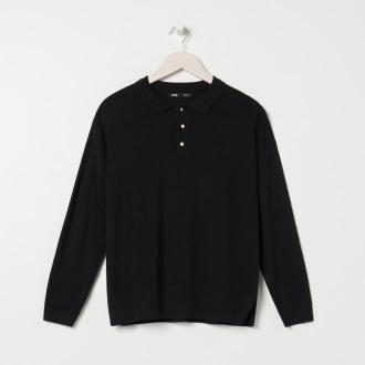 Sinsay - Sweter z kołnierzykiem - Czarny