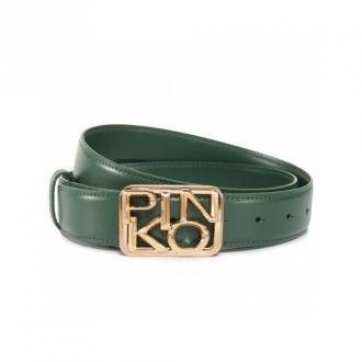 Pinko Green Logo Buckle Belt Akcesoria Zielony Dorośli Kobiety