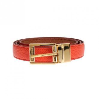Dolce & Gabbana Dauphine Leather Belt Akcesoria Pomarańczowy Dorośli