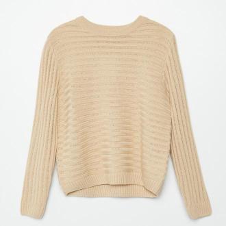 Cropp - Sweter w prążki - Beżowy