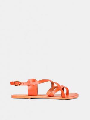 Brązowe skórzane sandały Dorothy Perkins - 37