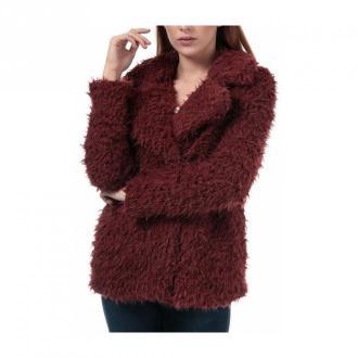 Vero Moda Coat Faux Fur Kiss Front Notch Płaszcze Czerwony Dorośli