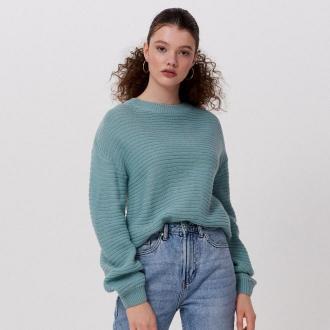 Cropp - Sweter o drobnym splocie - Turkusowy